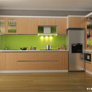 Tủ bếp melamine là 1 loại tủ bếp gỗ công nghiệp được sản xuất trên 1 dây chuyền công nghệ hiện đại.